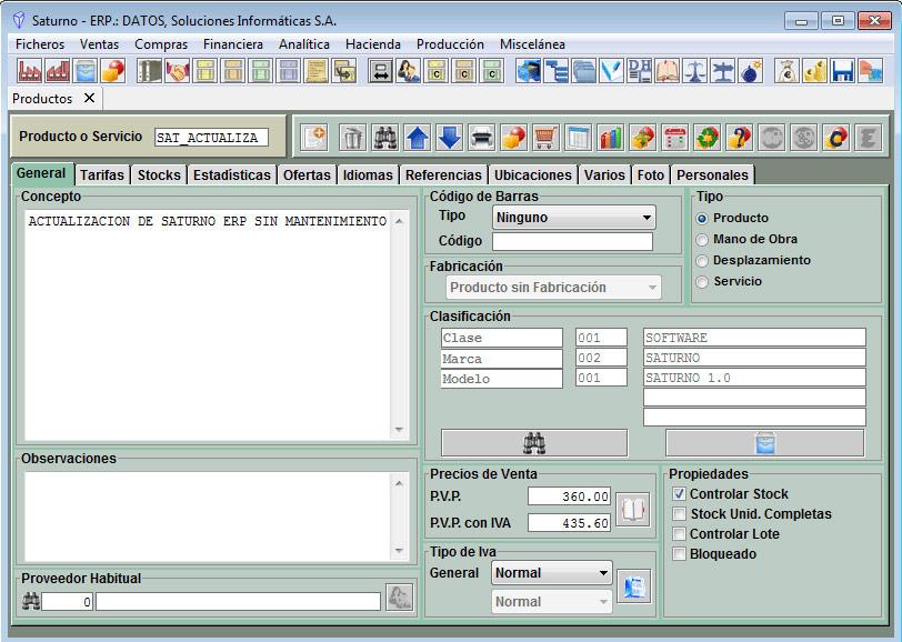 Software ERP Saturno Almacenes