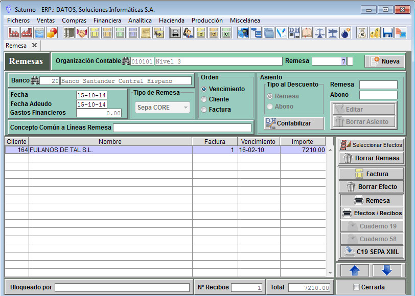 Software ERP Saturno Cobros
