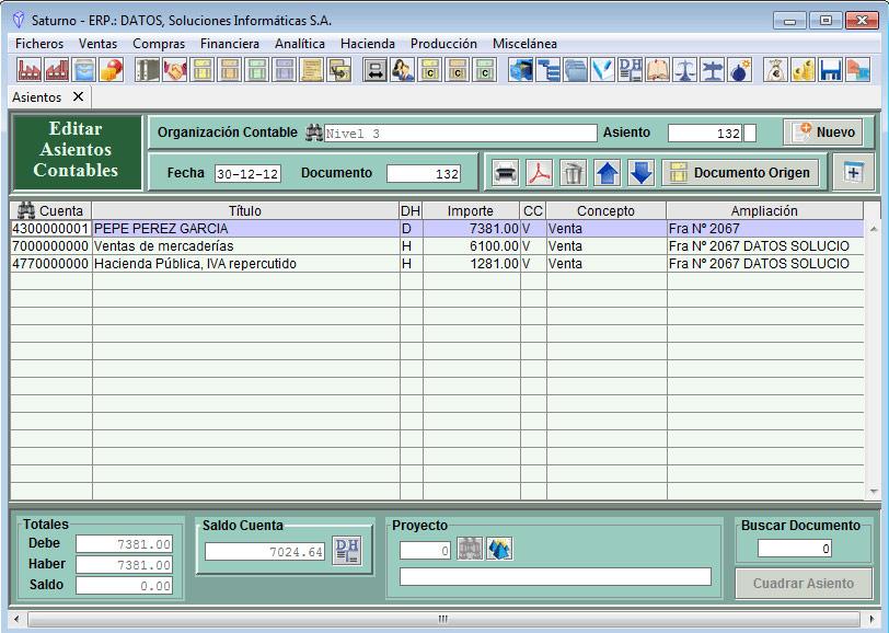 Software ERP Saturno Contabilidad