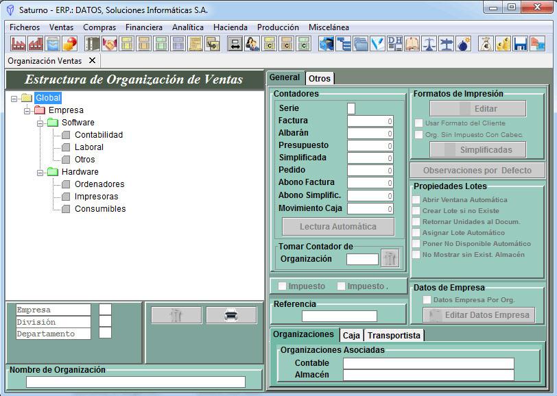 Software ERP Saturno Organizaciones