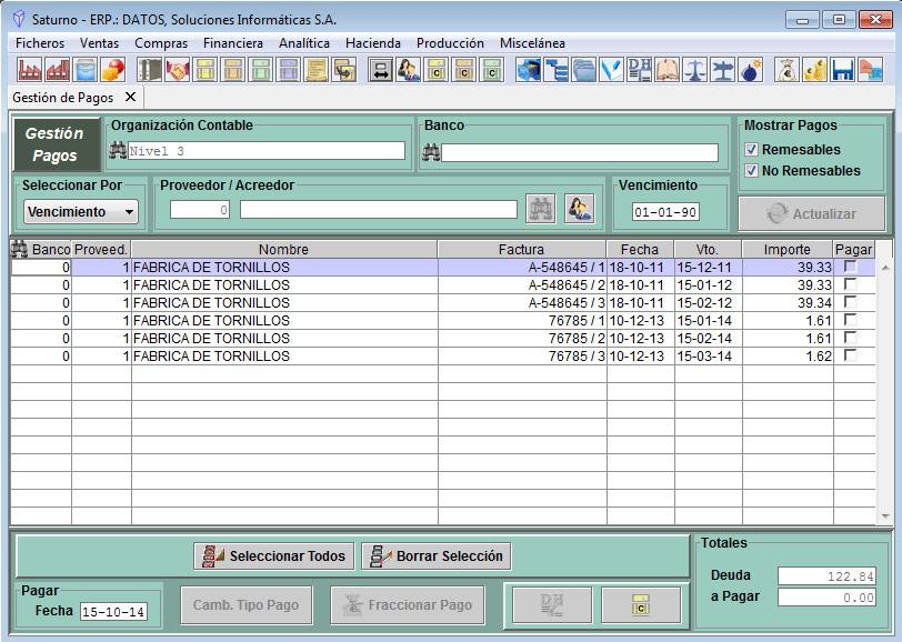 Software ERP Saturno Pagos