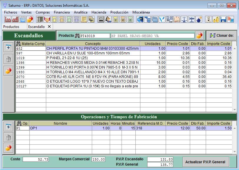 Software ERP Saturno Producción